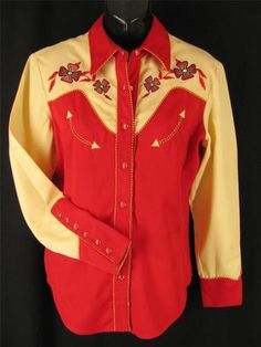 Great Price! Womens s 4 6 Scully Fancy Western Cowgirl Shirt Red Cream Pearl Snaps Yee Haw $25