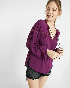 lace inset tie neck blouse