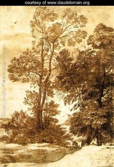 Claude Lorraine landscape (one of my favorite draughtsman) Landscape Sketch, Landscape Drawings, Landscape Art, Landscape Paintings, Art Drawings, Tree Study, Coffee Painting, Claude, Pictures To Paint