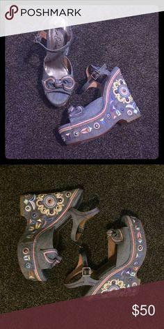 Sam Edelman Wedge Embroidered, denim, studded platform wedge. New, never used. Sam Edelman Shoes Platforms