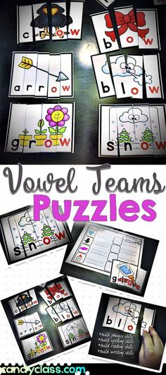 Students need lots of opportunities to work with vowel teams. These puzzles are hands-on and help students to master this very important phonics skill. These can easily be used as an activity in a literacy center in the classroom. Word Work Activities, Spelling Activities, Kindergarten Activities, Team Activities, Reading Activities, Guided Reading, Teaching Phonics, Teaching Language Arts, Teaching Tips