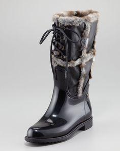 b18d8ecbc022 Stuart Weitzman Rebooting Faux Fur-trimmed Rain Boots Sz 39 Us 8