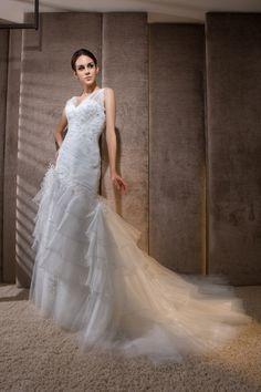AFN one shoulder mermaid train wedding gowns