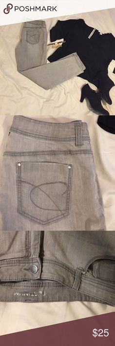 Chicos platinum grey jeans size 1.5 fits a size 14 Chicos platinum grey jeans size 1.5 fits a size 14. Straight leg. Selling because I lost weight and they don't fit anymore. great condition! Chico's Jeans Straight Leg