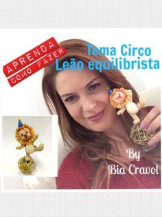 Leão de Biscuit - tema Circo - Bia Cravol - aula de biscuit