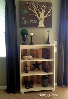 """Besides fixing a less than standard bookshelf into a work of art... I am loving the picture... it speaks to me of a song... """"His eye is on the sparrow, and I know he watches me""""... I love it!"""