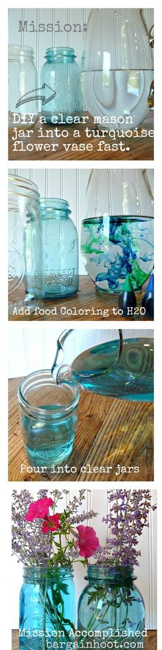 Quick and easy way to make Turquoise flower vases from clear mason jars!!