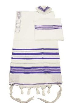 "Elegant Acrylic Tallit Set - Purple / Silver, Talit Size 13'' x 64'' by ZionJudaica. $61.36. Elegant yet affordable Tallit set with fine traditional stripes - Purple/ Silver. The full blessing is embroidered on the neckband. Price includes the zippered bag and Kippah as shown. Bag measures aprox. 12"" x 12"". Made in Israel."
