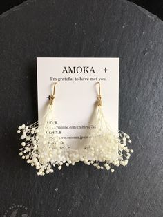人気 かすみ草のピアス 浴衣 ドライフラワー 夏 ウェディング Ear Jewelry, Bridal Jewelry, Jewelery, Jewelry Making, Diy Hair Accessories Bridal, Jewelry Accessories, Jewelry Design, Fleurs Diy, Diy Accessoires