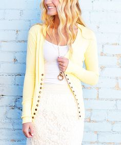 Look at this #zulilyfind! Light Yellow Snap Cardigan #zulilyfinds