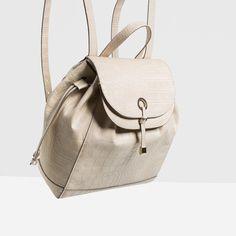 Zara Metal Detail Backpack ($60) ❤ liked on Polyvore featuring bags, backpacks, zara bags, backpack bags, knapsack bag, day pack backpack and rucksack bag
