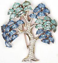 Trifari 'Alfred Philippe' Pave Aquamarine and Sapphire Demilune Tree Pin Brooch.