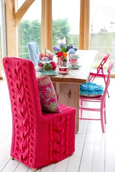 Amy Butler cable knit chair cover...FUN!!!