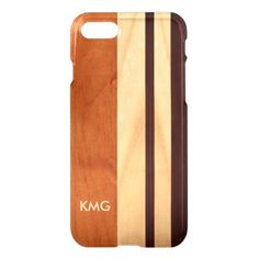 Beautiful Monogrammed Wood Stripes Pattern iPhone 7 Case #iphone #7 #cases