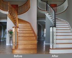 One of our FB fans showed us a before & after using Advance & Cabinet Coat on the staircase, and thunder AF-685 on the walls. via Benjamin Moore