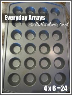 Relentlessly Fun, Deceptively Educational: Everyday Arrays Multiplication Hunt relentless fun, muffin tins, mini muffins, decept educ, around the house, scavenger hunts, multiplication games, array, kid