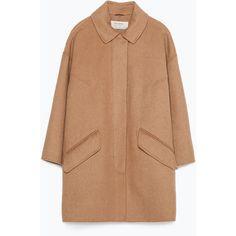Zara Hand Made Coat (680 ARS) ❤ liked on Polyvore featuring outerwear, coats, jackets, tops, camel, camel coat, fur-lined coats, zara coats and beige coat