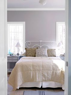 Simple Decor - Shaker Home Style - Country Living Benjamin Moore's Violet Dusk wall color Home Bedroom, Master Bedroom, Bedroom Decor, Bedroom Ideas, Bedroom Interiors, Bedroom Wall, Apartment Therapy, Purple Paint Colors, Simple Bedroom Design