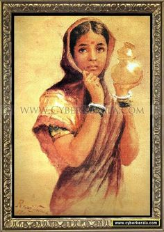 The Milkmaid - Painting of a north Indian village girl carrying milk. Oil painting on canvas by Raja Ravi Varma dated 1904 - Sri Chitra Art Gallery, Thiruvananthapuram, Kerala.
