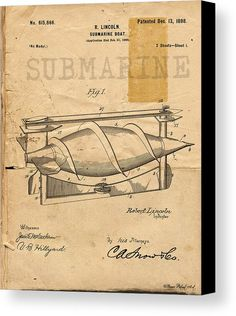 Antique Submarine Patent Drawing Canvas Art Print by Michel Keck. Click image for purchase info. Huge selection of vintage patent drawing art prints on canvas, paper, and home decor items. VINTAGE PATENT DRAWING ART.