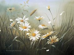 """Photo from album """"Mary Dipnall"""" on Yandex. Daisy Painting, Spring Painting, Painting & Drawing, Beautiful Flower Quotes, Beautiful Flowers, Watercolor Flowers, Watercolor Art, Daisy Art, Beautiful Fantasy Art"""