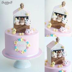 A pocket full of sweetness Farm Birthday Cakes, Animal Birthday Cakes, Farm Animal Birthday, Birthday Cake Girls, 2nd Birthday, Birthday Banners, Birthday Invitations, Birthday Parties, Baby Cakes