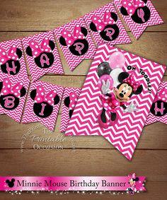 CHEVRON Minnie Mouse Happy Birthday Banner, Minnie Mouse Pink Chevron, Happy Birthday Pennant Banner, DIY Printable Digital Happy Birthday