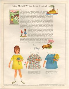1966-Vintage ad for Betsy McCall`paper Doll, Kentucky dresses (050315)