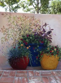 Painted mural....so pretty.                                                                                                                                                      Más: Canvas, Projects, Plants, Painting, Garden, Art, Planter Pots, Kunst, Gardens