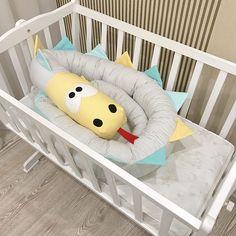 Baby crib bumper GREY Kind Dragon Pillow Handmade Baby Bed