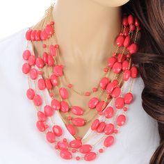 Pink Multilayered Beaded Necklace