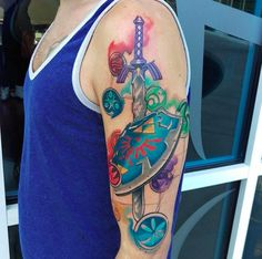 "This awesome sword and shield combination: | 22 ""Legend Of Zelda"" Tattoos That Will Blow You Away"