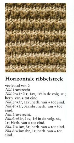 Horizontale ribbelsteek  001 - Breisteken