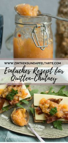 Favorite sandwiches with quince and pear chutney - cinnamon biscuit and apple tart - Super delicious quince and pear chutney – fruity and spicy, with a little ginger and chilli the p - Chutneys, Chilis Menu, Cinnamon Biscuits, Salted Caramel Fudge, Tea Sandwiches, Vegetable Drinks, Healthy Fruits, Healthy Eating Tips, Sandwich Recipes