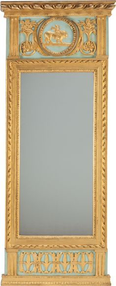 Image of A FRENCH LOUIS XVI GILT AND PAINTED WOOD TRUMEAU MIRROR, | Lot #77100 | Heritage Auctions