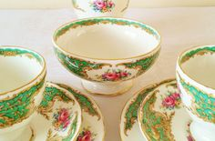 This listing is for a beautiful Foley vintage English bone china tea or coffee set, with 2 trios (teacup, saucer, side plate), a milk jug /