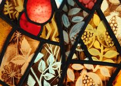 Franciscan Convent, Melton Mowbray. Close up detail of stained glass design by Derek Hunt