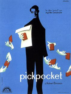 Movie poster for Robert Bresson's Pickpocket (1959) illustrated by Christian Broutin (from Adrian Curry on Mubi)