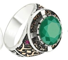 sterling  silver  men  ring  , naturel emerald and ruby  stone
