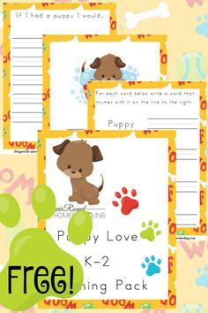 Free puppy love k 2 learning pack year round homeschooling