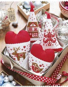 Новогодняя вышивка. Сердечки в стиле тильда. Обсуждение на LiveInternet - Российский Сервис Онлайн-Дневников