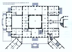 Ground floor plan of the Fredensborg Slot, Denmark. It is the summer residence of the Royal Danish Family.