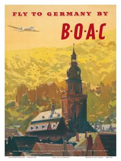 British Overseas Airways Corporation: Fly to Germany by BOAC, c.1950s  by Frank Wootton