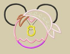 INSTANT DOWNLOAD Miss Mouse Neverland Izzy Pirate Mouse Head Applique Design