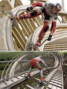 Extreme inline skating on roller coaster tracks. Dirk Auer, pictured above, is an extreme inline skater who already holds the world speed record for skating, achieving a top speed of 190mph while being dragged behind a Porsche GT2. The ride itself took just over a minute with Auer reaching a top speed of 56mph after the first 30 meter drop.