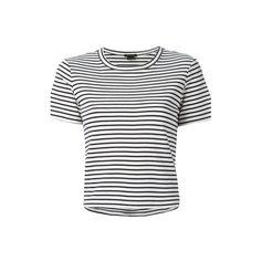 THEORY Striped Breton T-Shirt ($60) ❤ liked on Polyvore featuring tops, t-shirts, shirts, blusas, tees, white, tee-shirt, cropped tops, crop t shirt and white t shirt