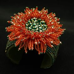 SPUNKYsoul Bohemian Multi-Colored Beaded Cuff Bracelets for Women Collection (Teal/Red/Cube) – Fine Jewelry & Collectibles Embroidery Bracelets, Bead Embroidery Jewelry, Beaded Embroidery, Bead Jewellery, Seed Bead Jewelry, Beaded Jewelry, Beaded Necklaces, Seed Bead Flowers, French Beaded Flowers