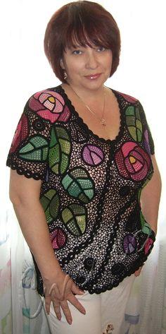 """Stainedglass rose"" (crochet, crocheting top, crochet tunic, irish lace)"