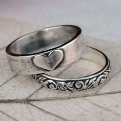 Mothers Day - Love - Sterling Silver Heart and Scroll Ring Stack - Hand Forged - Made In Your Size