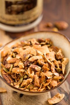 My favorite thing about this Maple Cinnamon Granola is the way the coconut caramelizes in the baking process! It's Gluten free, Vegan, and Paleo. Healthy Dessert Recipes, Real Food Recipes, Healthy Snacks, Snack Recipes, Cooking Recipes, Paleo Treats, Oatmeal Recipes, Desserts, Keto Snacks